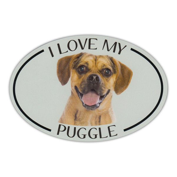 Oval Dog Magnet - I Love My Puggle