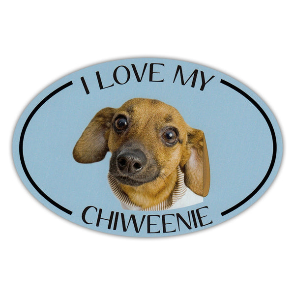 Oval Dog Magnet - I Love My Chiweenie