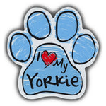 Blue Scribble Dog Paw Magnet - I Love My Yorkie