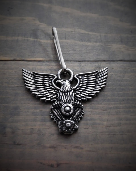 "Zipper Pull - Eagle V-Twin Motorcycle Motor (1.5"" x 1"")"