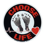 Round Magnet - Choose Life, Black/Red
