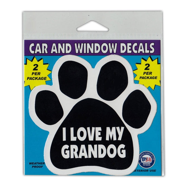 "Window Decals (2-Pack) - I Love My Grandog (4.5"" x 4.25"")"