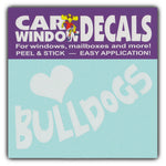 "Window Decal - Love Bulldogs (4.5"" Wide)"