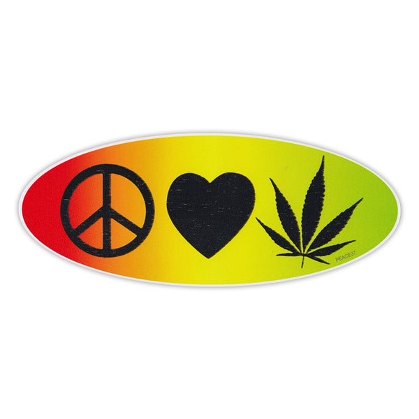 Bumper Sticker - Peace, Love, Marijuana