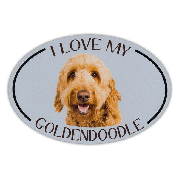Oval Dog Magnet - I Love My Goldendoodle