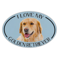 Oval Dog Magnet - I Love My Golden Retriever