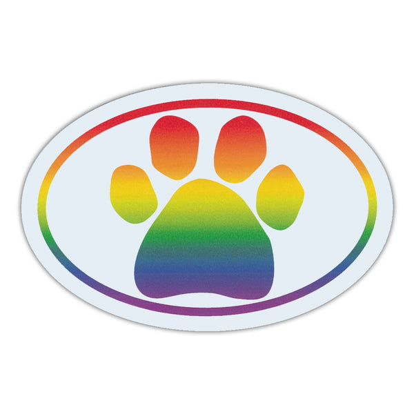 Oval Magnet - Rainbow Paw