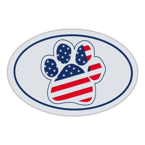 Oval Magnet - United States Flag Paw