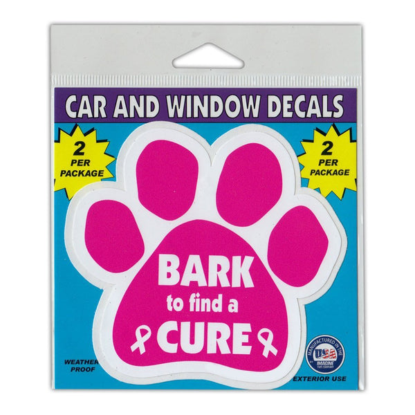 "Window Decals (2-Pack) - Bark To Find A Cure (4.25"" x 4"")"