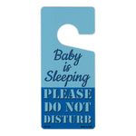"Door Tag Hanger - Baby is Sleeping, Please Do Not Disturb, Blue (4"" x 9"")"