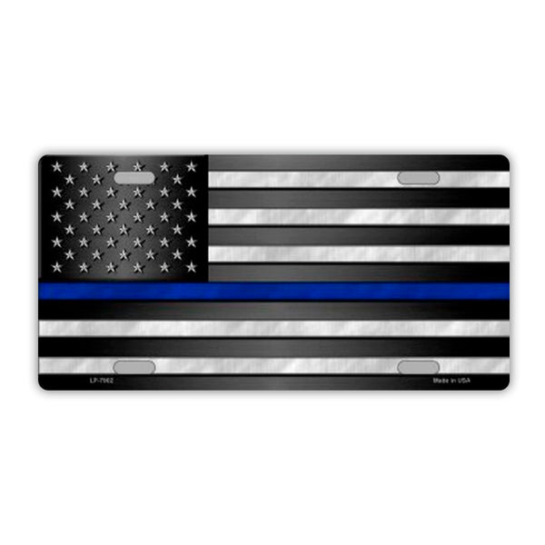 United States Flag Thin Blue Line Plate