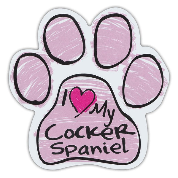Pink Scribble Dog Paw Magnet - I Love My Cocker Spaniel