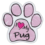 Pink Scribble Dog Paw Magnet - I Love My Pug