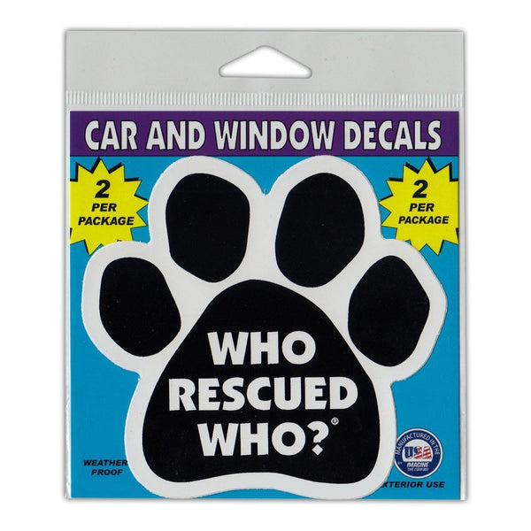 "Window Decals (2-Pack) - Who Rescued Who?, Black (4.5"" x 4.25"")"