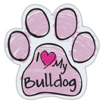 Pink Scribble Dog Paw Magnet - I Love My Bulldog