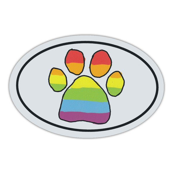 Oval Magnet - Rainbow Scribble Paw