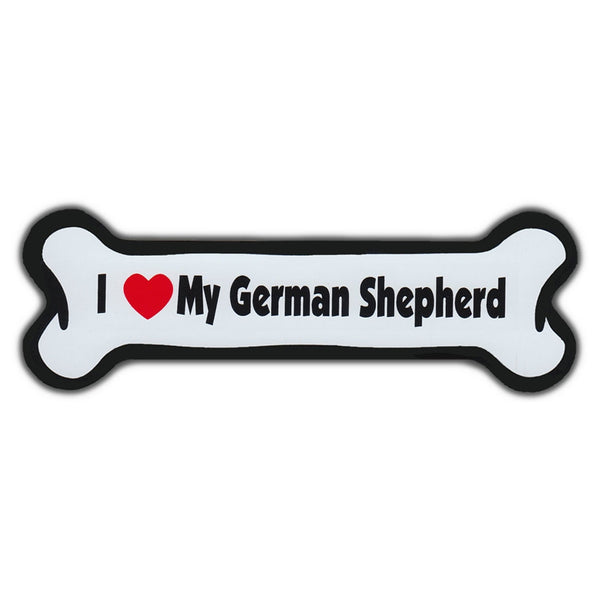 "Magnet, Dog Bone, I Love My German Shepherd, 7"" x 2"""