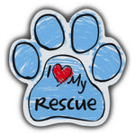 Blue Scribble Dog Paw Magnet - I Love My Rescue Dog