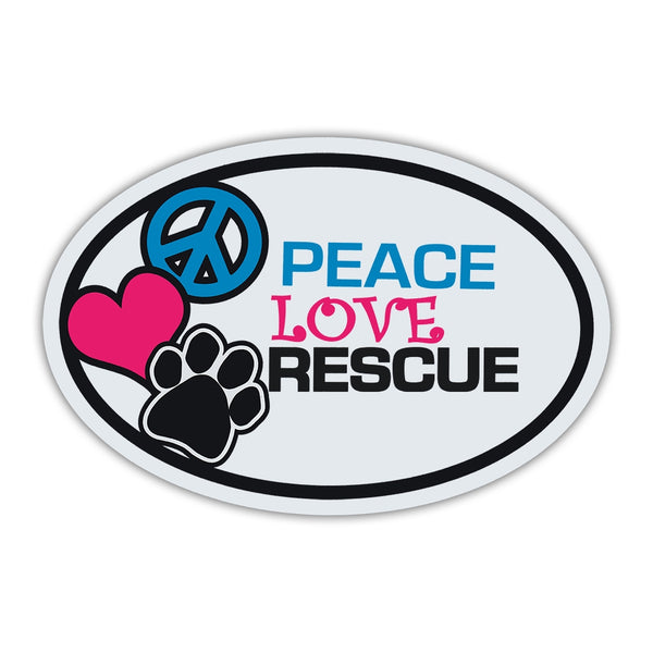 Oval Magnet - Peace, Love, Rescue, Dogs/Cats