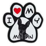 Picture Paw Magnet - I Love My Min Pin