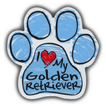 Blue Scribble Dog Paw Magnet - I Love My Golden Retriever