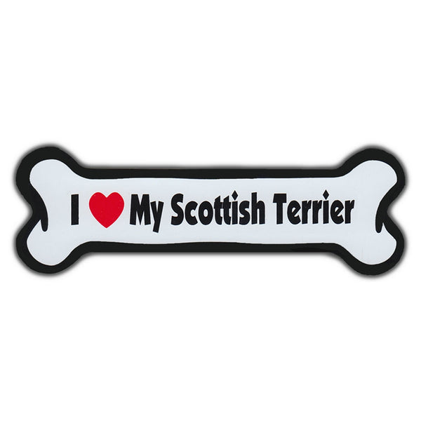 Dog Bone Magnet - I Love My Scottish Terrier