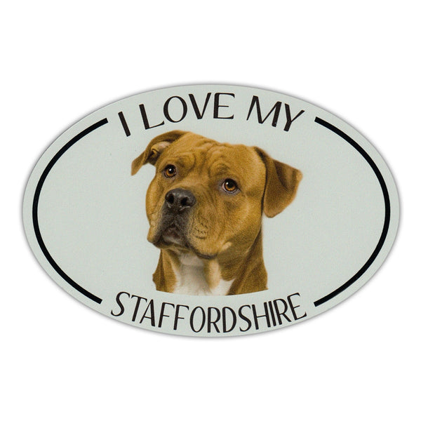 Oval Dog Magnet - I Love My Staffordshire