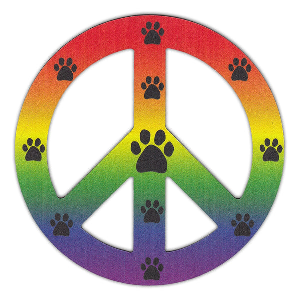 "Magnet - Peace Sign, Rainbow Design w/Paw Prints (4.75"" Round)"