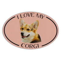 Oval Dog Magnet - I Love My Corgi