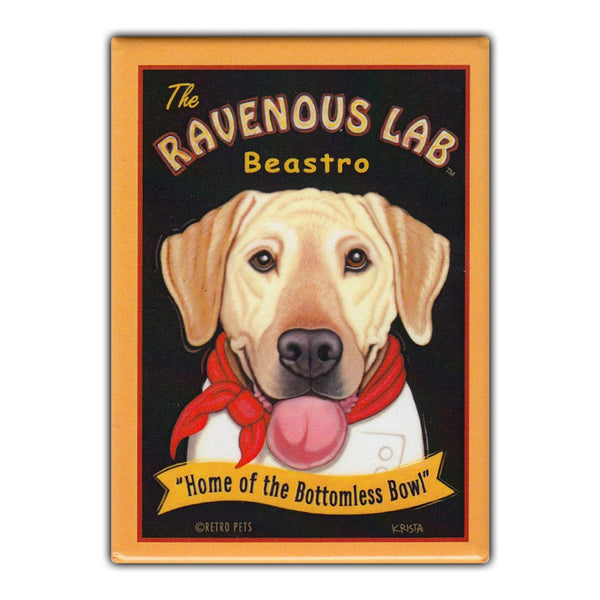 Refrigerator Magnet - The Ravenous Lab Beastro (Bistro), Yellow Lab