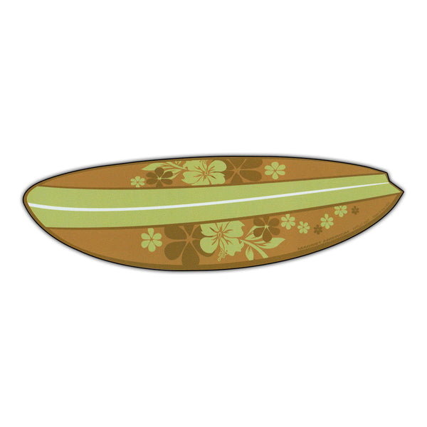 "Magnet - Surfboard (Hawaiian Flowers, Green)(6.75"" x 2"")"