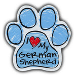 Blue Scribble Dog Paw Magnet - I Love My German Shepherd