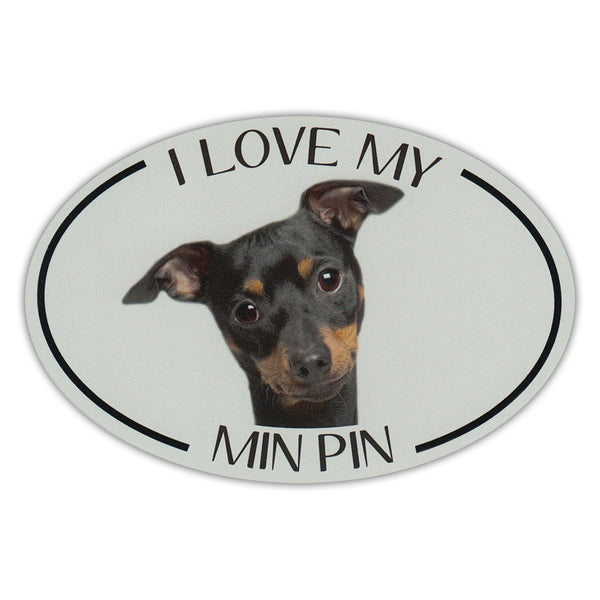 Oval Dog Magnet - I Love My Min Pin