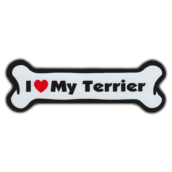 Dog Bone Magnet - I Love My Terrier