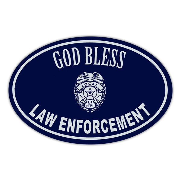 Oval Magnet - God Bless Law Enforcement