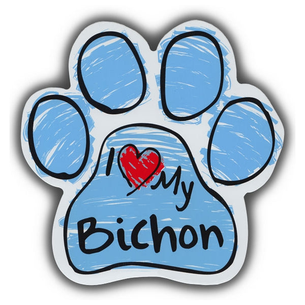 Blue Scribble Dog Paw Magnet - I Love My Bichon