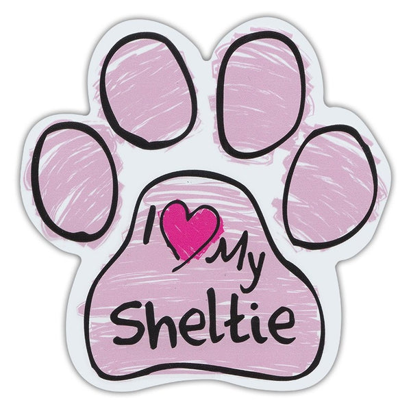 Pink Scribble Dog Paw Magnet - I Love My Sheltie