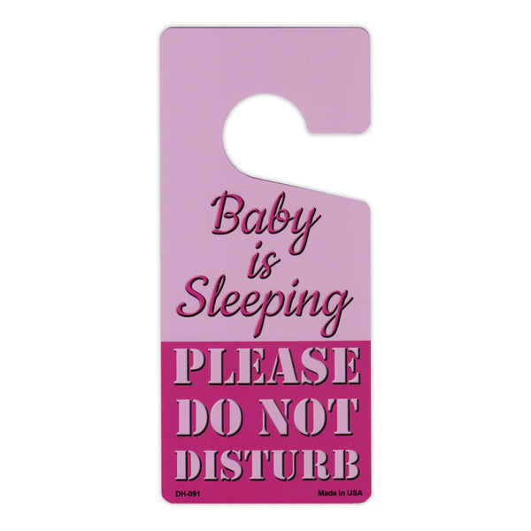 "Door Tag Hanger - Baby is Sleeping, Please Do Not Disturb, Pink (4"" x 9"")"