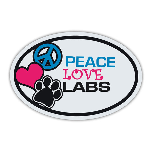 Oval Magnet - Peace, Love, Labs
