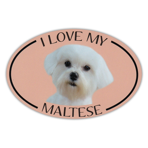 Oval Dog Magnet - I Love My Maltese