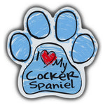 Blue Scribble Dog Paw Magnet - I Love My Cocker Spaniel