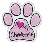 Pink Scribble Dog Paw Magnet - I Love My Chiweenie