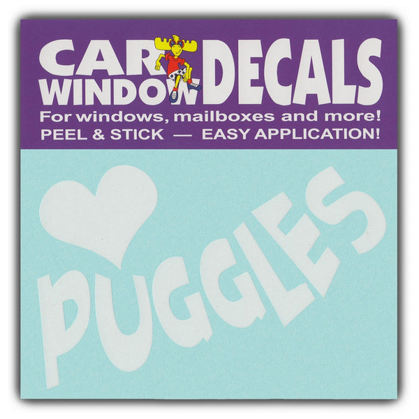 "Window Decal - Love Puggles (4.5"" Wide)"