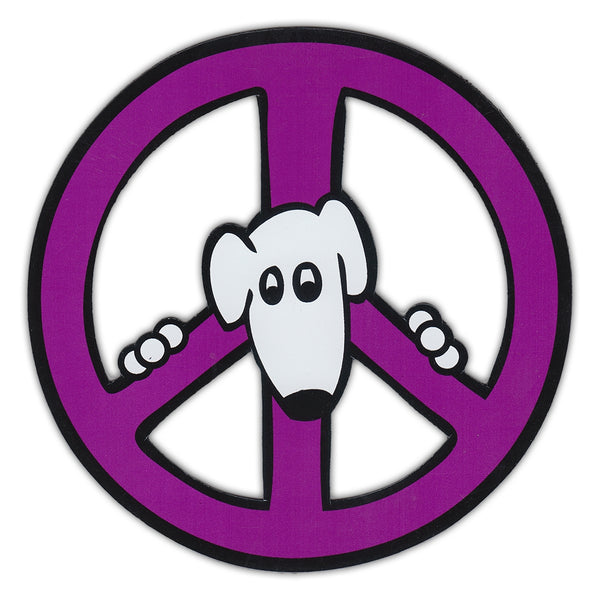 "Magnet - Peace Sign, Purple Design w/Dog (4.75"" Round)"