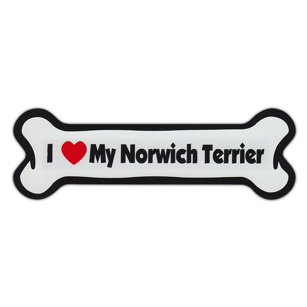 Dog Bone Magnet - I Love My Norwich Terrier