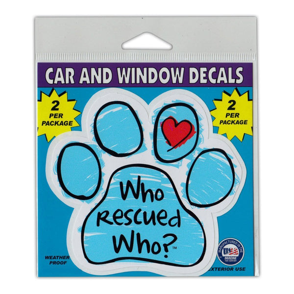 "Window Decals (2-Pack) - Who Rescued Who?, Blue (4.25"" x 4"")"