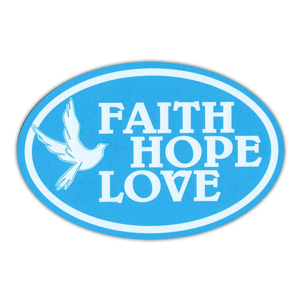 Oval Magnet - Faith, Hope, Love