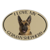 Oval Dog Magnet - I Love My German Shepherd