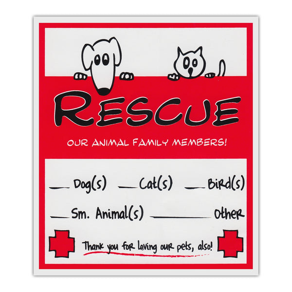 "Window Decal - (2-Pack) Window Decals, Pet Rescue Sticker (4.5"" x 5"")"