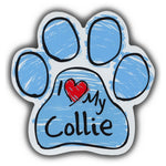 Blue Scribble Dog Paw Magnet - I Love My Collie